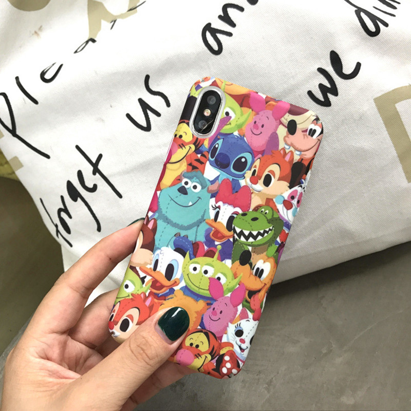 Kawaii funny stitch emoji chip dale cute phone case for coque iPhone 7 Puls 8 6 6s X XR XS Max Case Hard Matte Back Cover