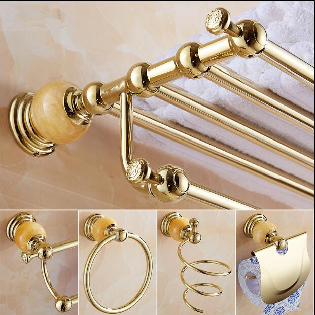Brass and Jade Bathroom Accessories Set, Gold Robe hook,Paper Holder,Towel Bar,Soap basket,Towel Rack bathroom Hardware set brass bathroom accessories set gold square paper holder towel bar soap basket towel rack glass shelf bathroom hardware set