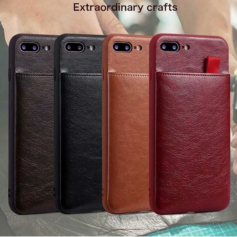 Phone - Haissky Leather Wallet Phone Case For iPhone X 6 6s 7 8 Plus Case Luxury Pull Type Card Slots Back Cover For iPhone X 10 8 Plus