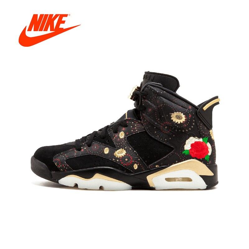 Officiel D'origine Nike Première Couche Suede Air Jordan 6 CNY AJ6 Pivoine Broderie AA2492-021 Mens Basketball Chaussures Sneakers