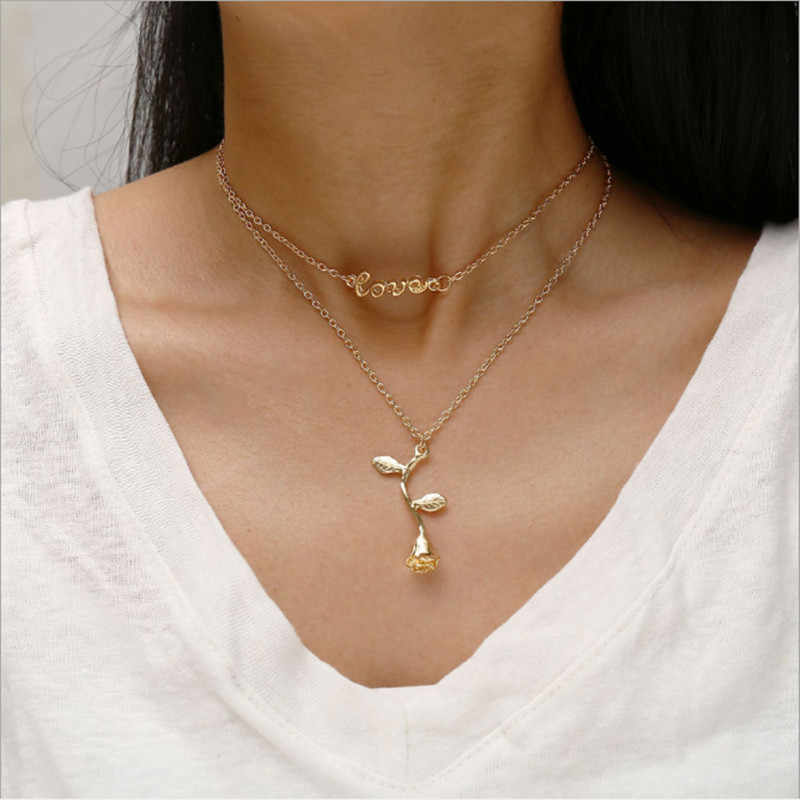 2019 Fashion Jewelry Collier Pink Gold Rose Statement Pendant Necklace Women's Beauty And Beast Jewelry Lovers Gifts Wholesale