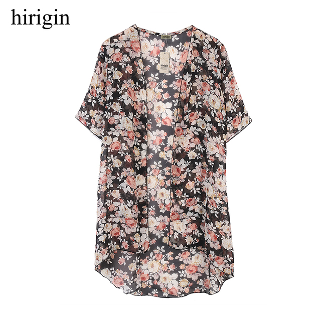 2018 Sexy Women Flower Blouses Summer Kimono Cardigan Maxi Shirts Half Sleeve Summer Sunsuits Outfits
