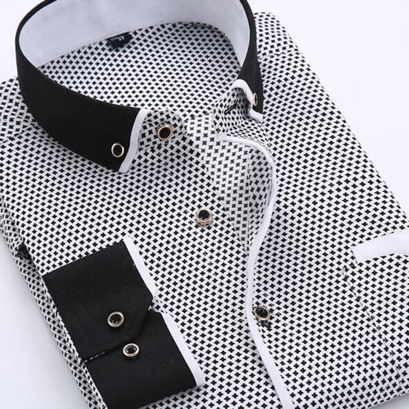 2018 Formal Business Dress Shirts Long Sleeve Turn down Collar Men Polka Dot Printed Single Breasted Cotton High Quality Shirts in Dress Shirts from Men 39 s Clothing