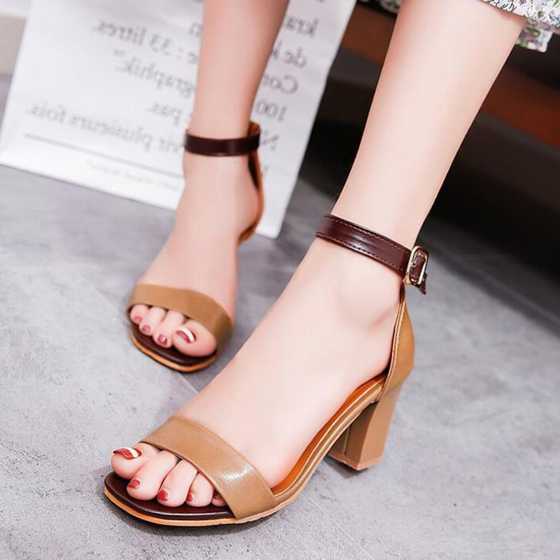 Women sandals 2018 new fashion square heel 7 cm summer high heel sandals women casual fashion buckle sandals size 34 - 42