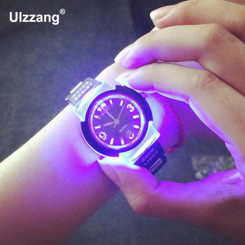 Cool LED Backlight Fashion Rubber Quartz Wristwatches Watch for Women Girls Men Boy Students Black White Clear 2016 new hot sale brand magic star black white analog quartz bracelet watch wristwatches for women girls men lovers op001