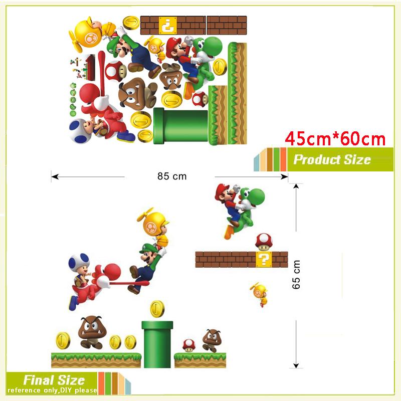 HTB1LVHrLFXXXXX XXXXq6xXFXXXQ - Cartoon Super Mario Bros Wall sticker For Kids Room