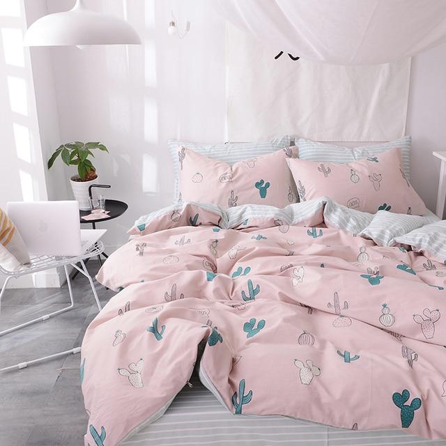 Svetanya растения печати лист наволочку и Стёганое одеяло крышка устанавливает 100% хлопок постельное белье twin двойной Queen King Размеры Постельное белье