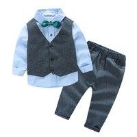 4 pcs Children Set Suit Winter Gentleman Denim Suit For Boy Formal Kids Wedding Clothes Elegant Boy Evening Clothing Party