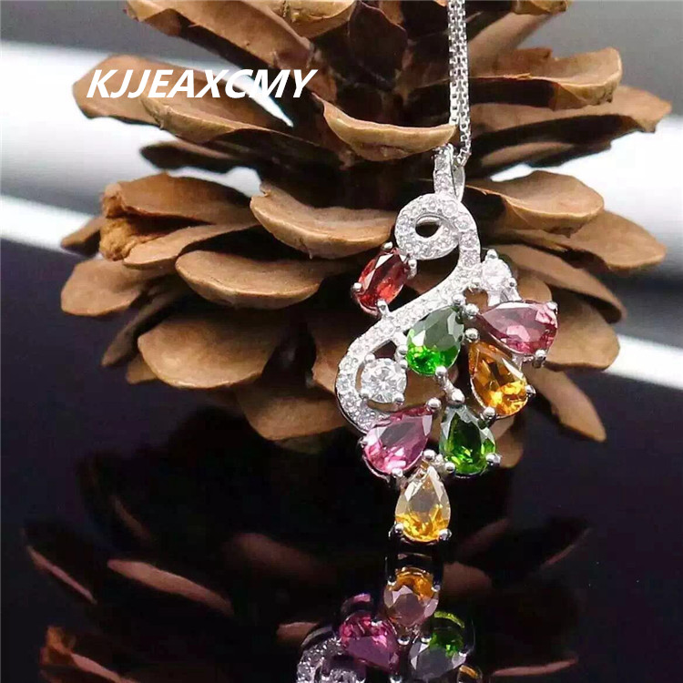 boutique jewelry,925 Sterling Silver 5A grade Brazil candy color pure natural Tourmaline Pendant, Sterling Silver Neck