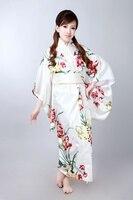 Free Shipping White Japanese Kimono Vintage Original Tradition Silk Yukata Dress With Obi H0052