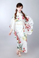 Japanese Kimono Vintage Original Tradition Silk Yukata Dress with Obi H0052