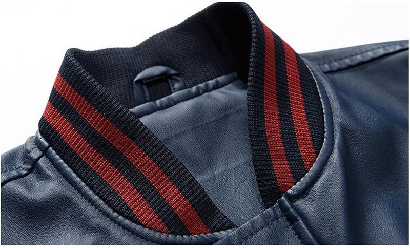 HTB1LVI6aZj B1NjSZFHq6yDWpXaT Jacket Men Embroidery Baseball Jackets Pu Leather Coats Slim Fit College Luxury Fleece Pilot Leather Jackets casaco masculino