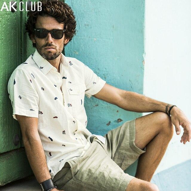 1f4b7cf56e AK Club brand camisa de lino camisa de manga corta de algodón Cuba Libre  Bandera Nacional
