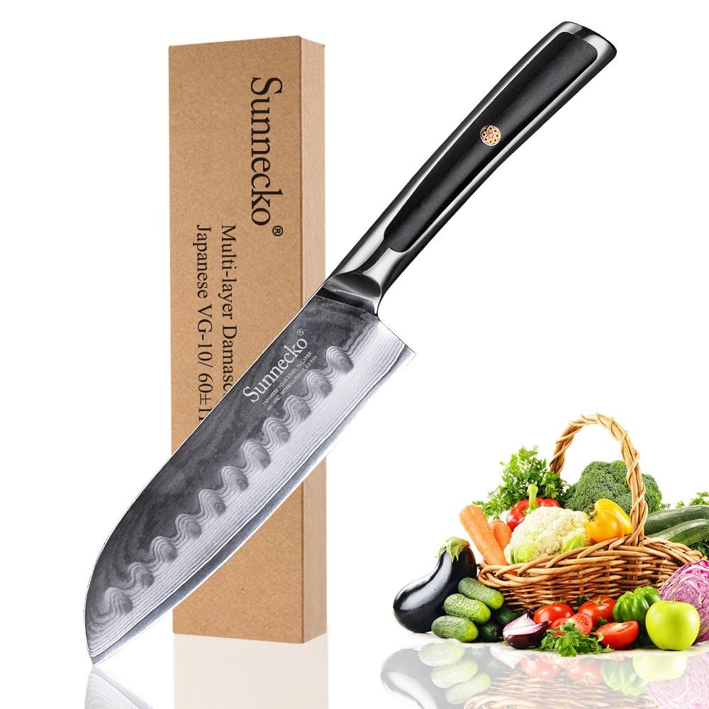 Sunnecko 5 Santoku Knife Damascus Steel Kitchen Knives Japanese VG10 Core Blade G10 Handle Sharp Meat