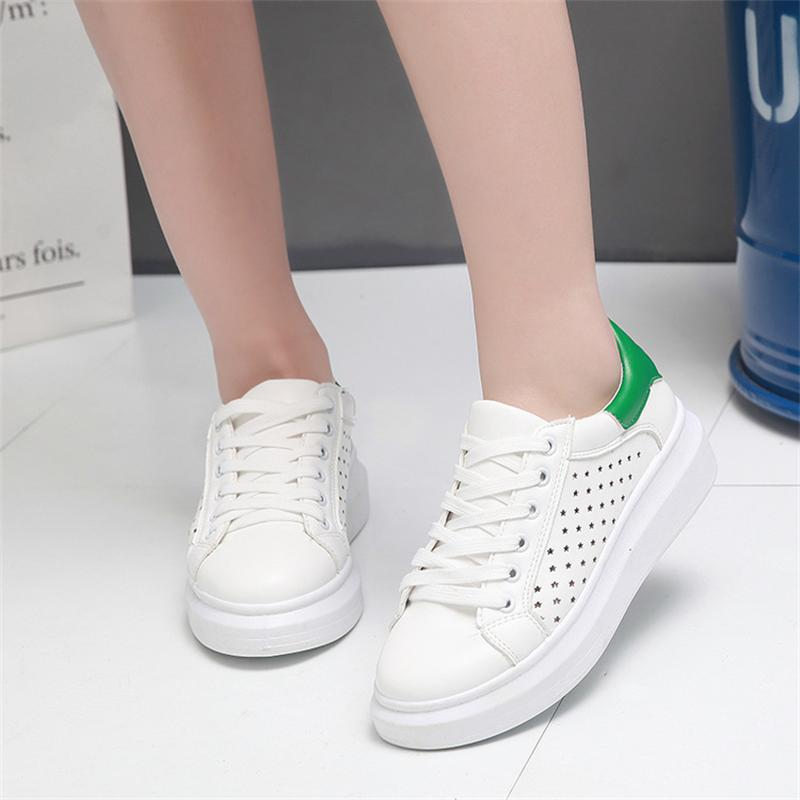 Women Casual Shoes Sandals Walking Platform Breathable Flats Fashion Star Outdoor Shoes Woman New 2017 Summer Hollow Lace Up summer women shoes casual cutouts lace canvas shoes hollow floral breathable platform flat shoe sapato feminino lace sandals