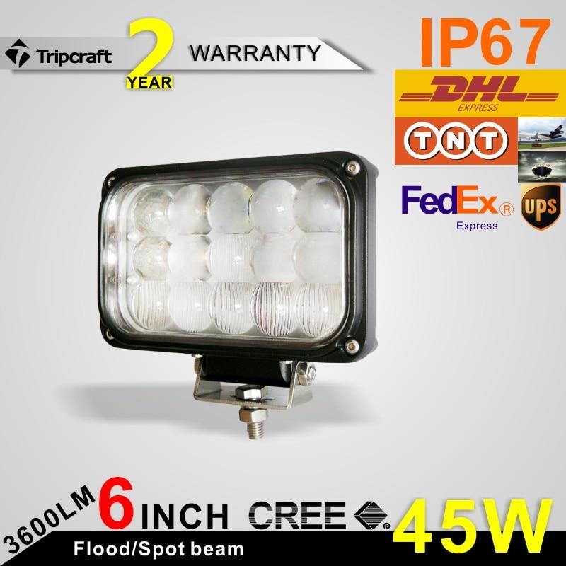 ФОТО Promotion 2pcs 6 Inch 45W LED Work Light for Indicators Motorcycle Driving Offroad Boat   Car Truck 4x4 SUV ATV Spot Flood 12V