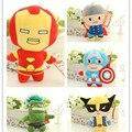 1 шт. 18 см Мстители Super Heroes Плюшевые Игрушки человек-Паук Капитан Америка Росомаха Тор Железный Человек Плюшевые куклы подарок на день рождения