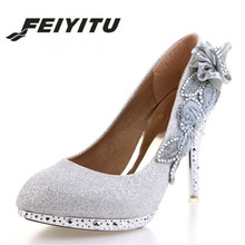 feiyitu New 2018 Women's Pumps Fashion Shoes Women High Heels Rhinestone Flower Shoes Sexy High Heel Bridal Wedding Shoes Plus prova perfetto new women pumps high heels rhinestone flower wedding shoes woman sexy high heels party shoes sweet princess shoes