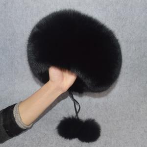 Image 4 - 2020 w nowym stylu zima rosyjski 100% naturalne prawdziwe futro z lisa kapelusz kobiety jakości prawdziwe futro z lisa Bomber kapelusze dziewczyna prawdziwe prawdziwe futro z lisa Cap