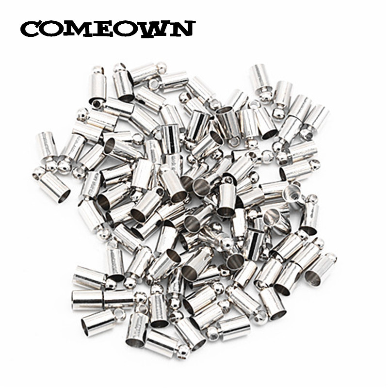COMEOWN 100pcs Hole 4mm Leather Cord End Caps Gold Silver Color Tassel Crimp End Clasps Copper Connector DIY Jewelry Accessories 4mm tin plated tube length closed end wire connector crimp caps 200 pcs