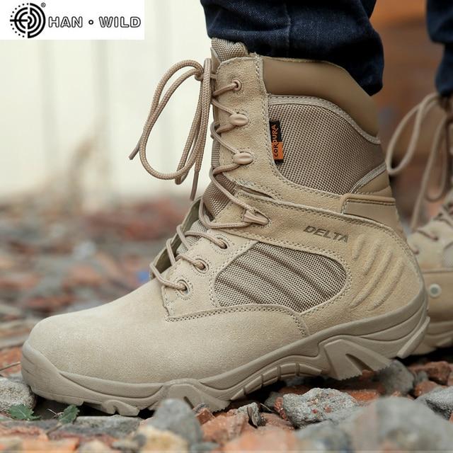 Frühling Männer Military Armee Stiefel Spezielle Kraft Wasserdichte Leder Desert Combat Arbeit Schuhe Tactical Ankle Stiefel Herren