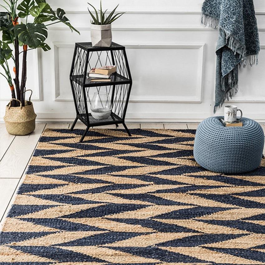 Natural India Quality Jute Handmade Living Room Carpet Big Size