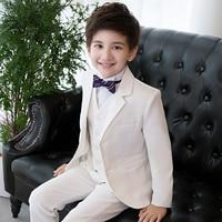 High Quality white kids suits boys blazers children flat solid school uniform flower boy suit clothes for wedding party costume