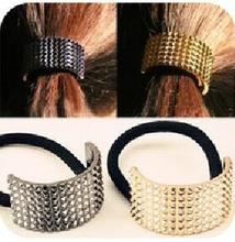 2016 Fashion Gun Black Gold Silver Metal Hair Accessories Metal Rivet Semicircle Elastic Hairband Rope Ponytail