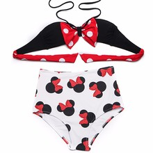 BANDEA 2017 new arrivel young girl Vintage High Waist  padded push up halter beach swinwear cute cartoon sling bathing suit