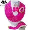 2016 Мода Hot Pink африканские хрустальные бусины колье нигерии свадебный африканские бусы Комплект ювелирных изделий Бесплатная доставка M6-037