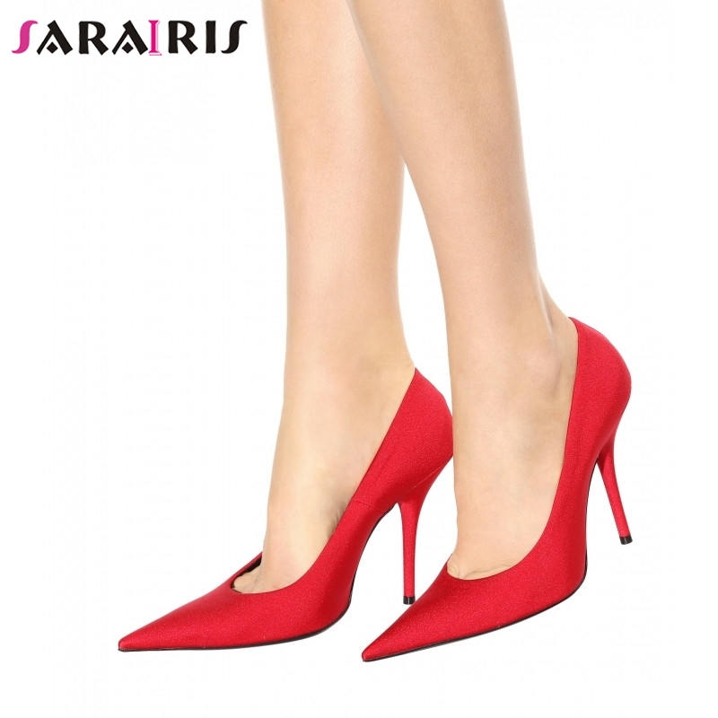SARAIRIS New Fashion Plus Size 33-48 Pointed Toe Shallow High Heels Shoes Woman Casual Office Party Sexy Spring Autumn Pumps