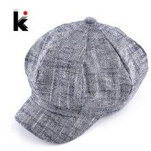 Женская модная кепка восьмиклинка из хлопка и льна смешанный берет осенние и зимние острые козырьки для женщин популярный дизайн Повседневная шляпа головные уборы для мужчин
