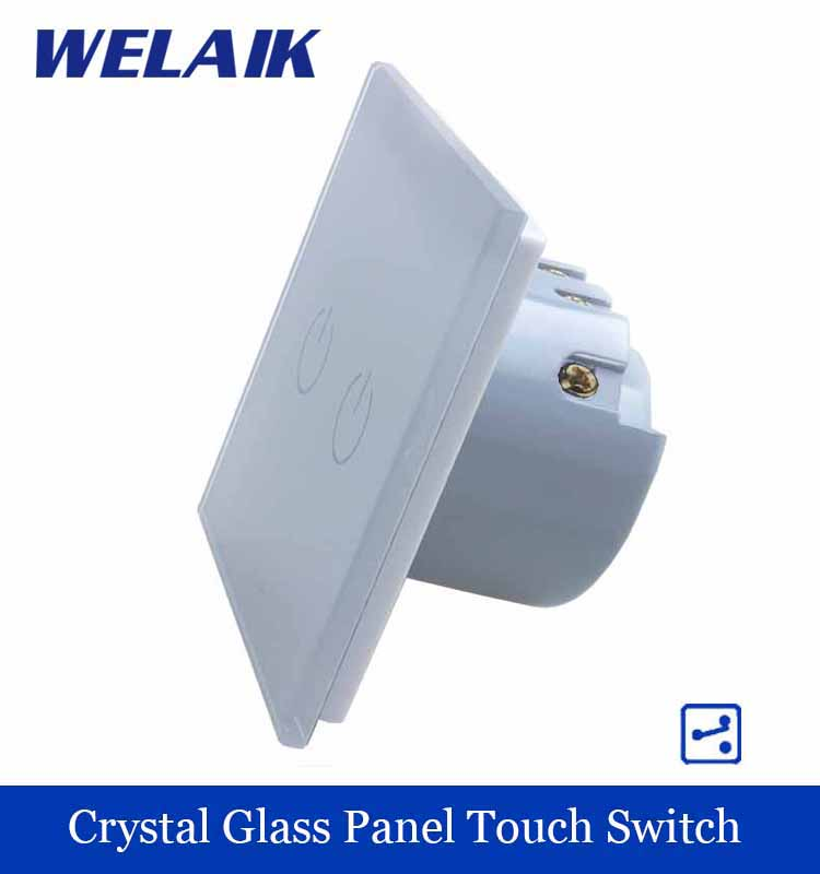 WELAIK Crystal Glass Panel Switch White Wall Switch EU Touch Switch Screen Wall Light Switch 2gang2way AC110~250V A1922W/B smart home eu touch switch wireless remote control wall touch switch 3 gang 1 way white crystal glass panel waterproof power