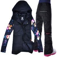 GSOU SNOW Women Ski Jacket Pant Windproof Waterproof Skiing Snowboard Suit Outdoor Sport Wear Super Warm Mountain Hiking Suit
