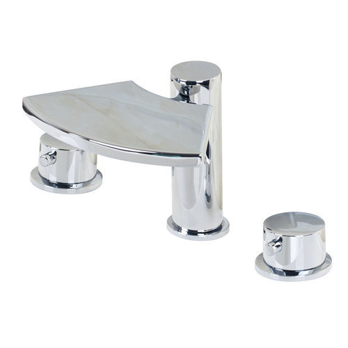 ФОТО 32C Wash Waterfall 3 Pieces Double Handles Chrome Deck Mount Shower Bathroom Basin Sink Bathtub Torneira Tap Mixer Faucet