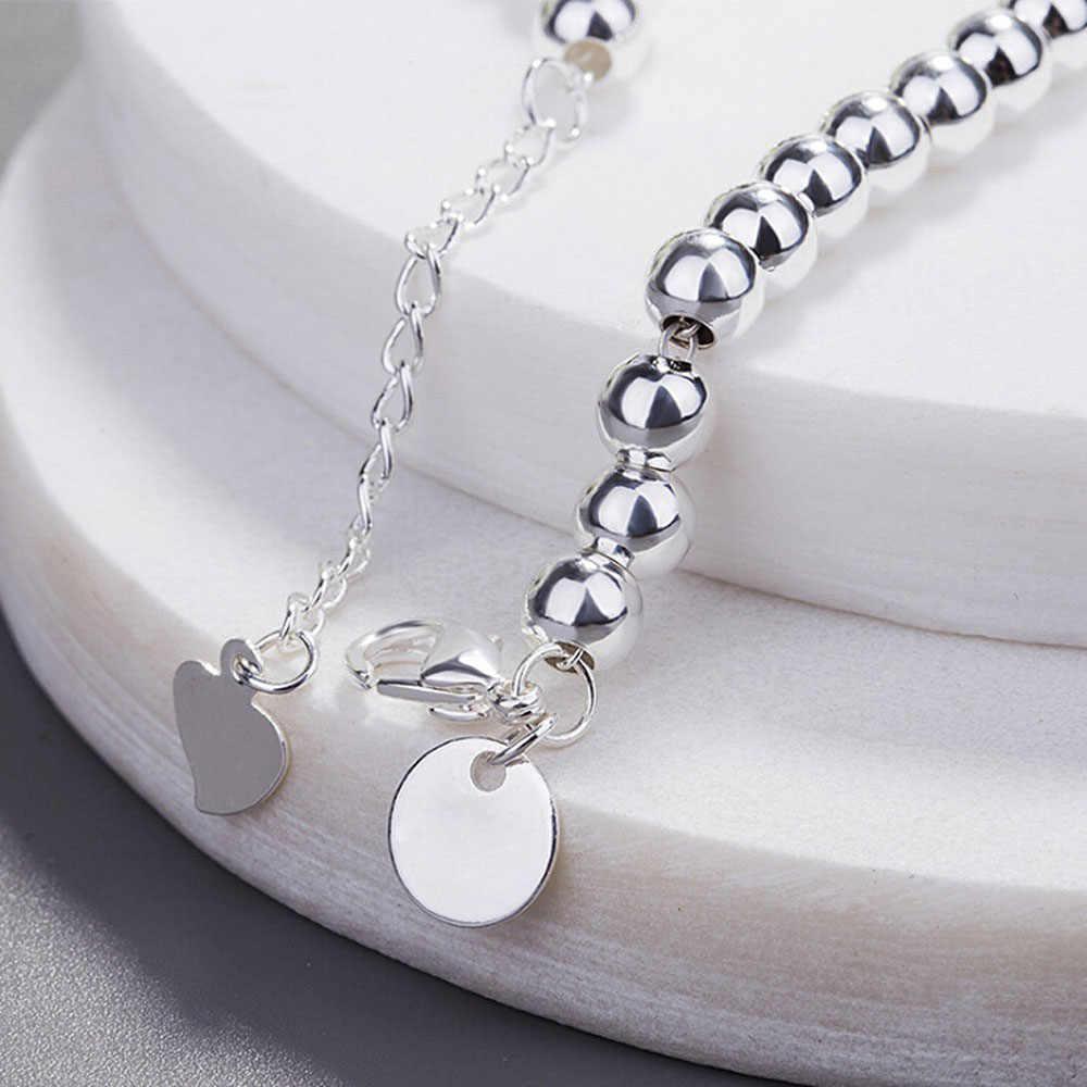 الفضة اللون مطرز أساور الكرة بسيطة جرس سلسلة العصرية بسيطة سوار المجوهرات بالجملة أساور ل Girsl النساء هدية