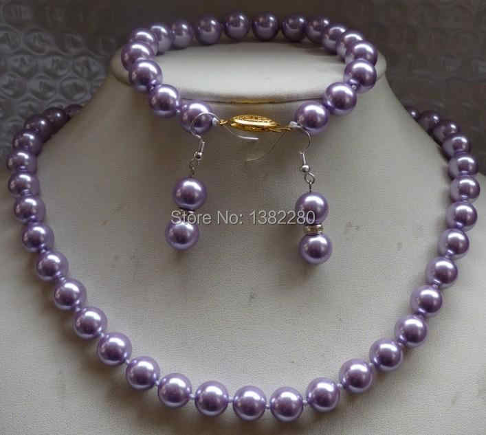 New Arriver Shell Pearl Jewelry Set 10mm Charming Putaran Purple Sea Shell Pearl Kalung Gelang Earrings JT5202