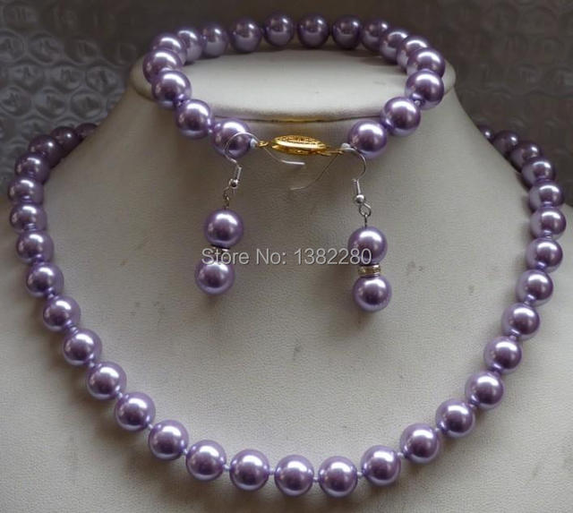 New Arriver Shell Pearl Jewelry Set 10mm Charming Round Purple Sea Shell Pearl Necklace Bracelet Earrings   JT5202