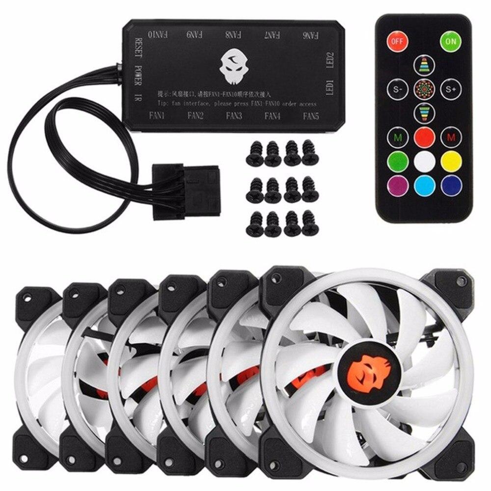 6 pièces ordinateur PC refroidisseur ventilateur de refroidissement Double anneau 366 Modes 10 niveau ajuster la vitesse rvb LED 120mm ventilateur avec télécommande pour CPU - 2
