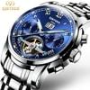 2017 Mens Skeleton Watch Top Brand Luxury Fashion Automatic Watches Men Mechanical Steel Watch Luminous Tourbillon