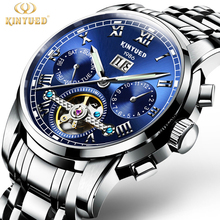 KINYUED Mens Skeleton Watch Top Brand Luxury Fashion Automatic Watches Men Mechanical Steel Watch Luminous Tourbillon Wristwatch
