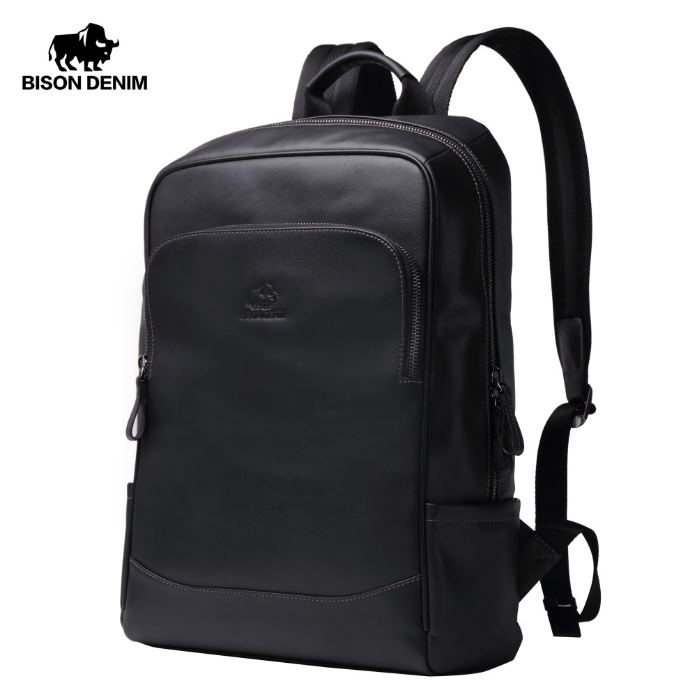 BISON DENIM Genuine Leather Men Backpacks Male Zipper Designer 15 inches School Backpack Men s Travel