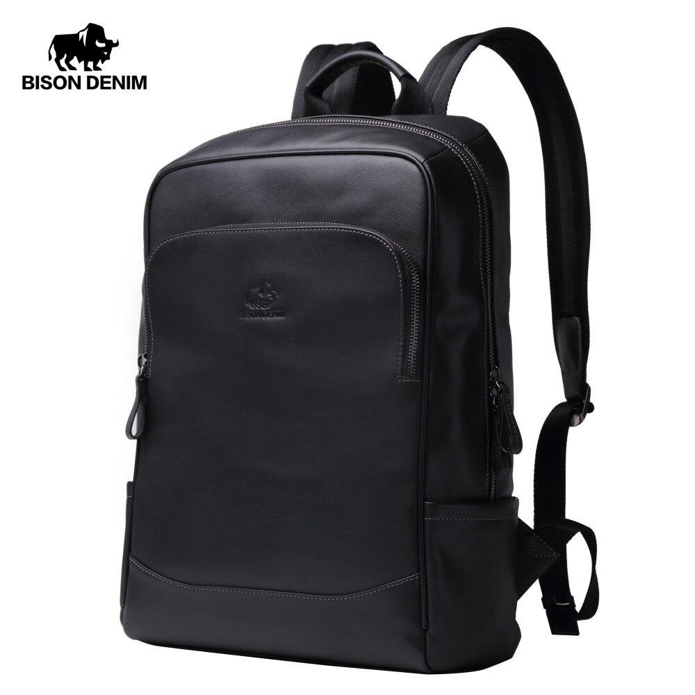 BISON DENIM véritable cuir hommes sacs à dos mâle Zipper Designer 17 pouces école sac à dos hommes voyage peau de vache sac à dos N2757