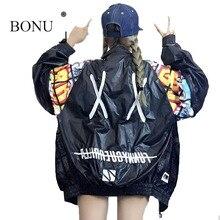 BONU New Hollow Out Back Embroidery Bomber Jacket Unisex Style Loosen Jacket Student Harajuku Oversize Female Basic Coats