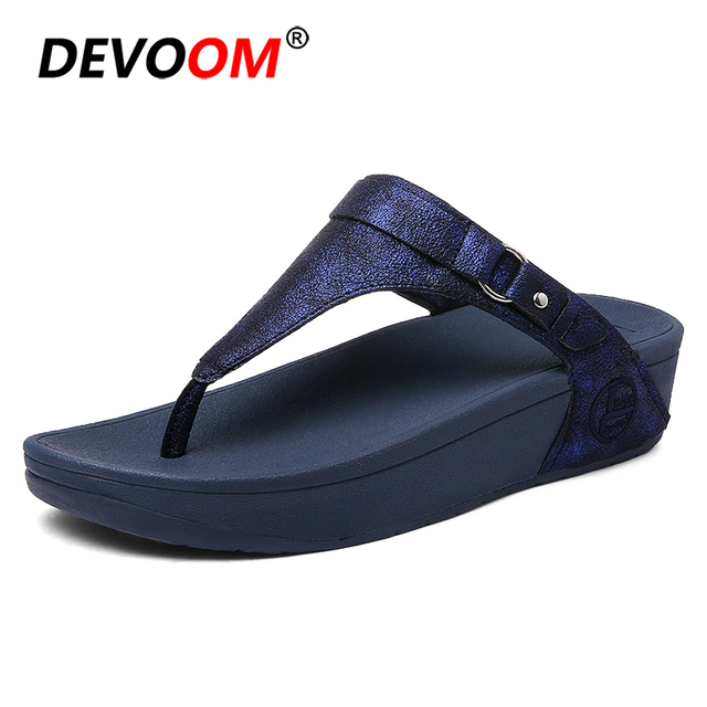 b8080f761dfd2 Mules 2018 Office Ladies Flip Flops Soft Pu Leather Thick Wedge Flip Flops  Women Beach Slippers
