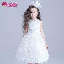 платья для девушек  Девушки белое платье 2016 новинка слоистых Ruched принцесса пачки вечерние платья корейский летом кружева цветок платья бальное платье  платья для девочек  платья длю девочек
