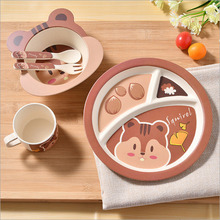 Bamboo Fiber Children Tableware Set Baby Dinnerware Plate Dishes Bowl With Spoon Dinnerware Feeding Set Food Container