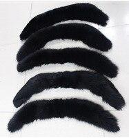 Cow horn shape detachable real fox fur collar