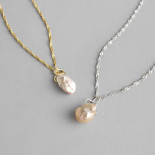 HFYK 2019 Fashion Gold Irregular Baroque Pearl Pendant Necklaces For Women 925 Sterling Silver Necklace collares de moda
