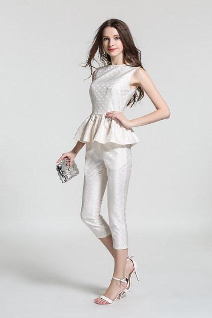 2017 modelos de verão versão Européia da estação das mulheres set moda feminina lotus folha jacquard terno do lazer feminino